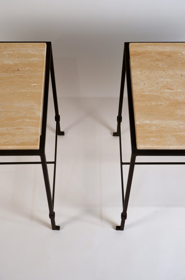 French Pair of 'Diagramme' Wrought Iron and Travertine Side Tables by Design Frères For Sale