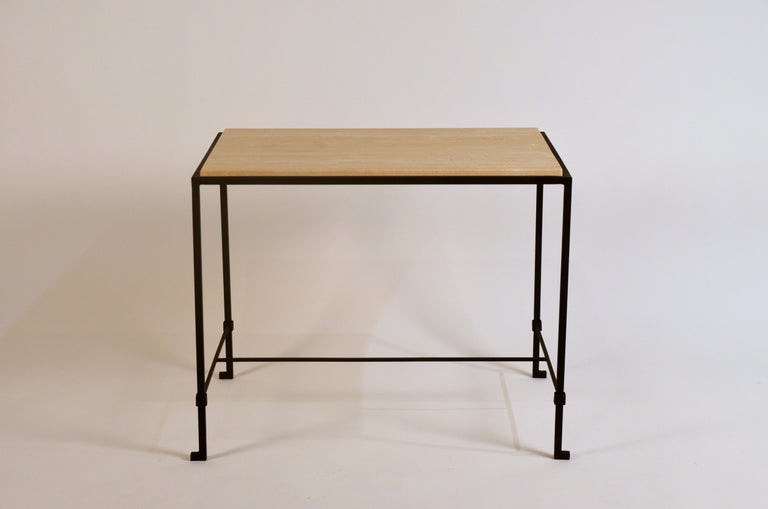 Contemporary Pair of 'Diagramme' Wrought Iron and Travertine Side Tables by Design Frères For Sale