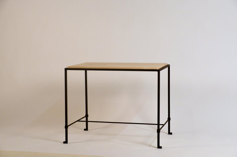 Pair of 'Diagramme' Wrought Iron and Travertine Side Tables by Design Frères For Sale 1