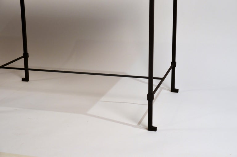 Pair of 'Diagramme' Wrought Iron and Travertine Side Tables by Design Frères For Sale 2