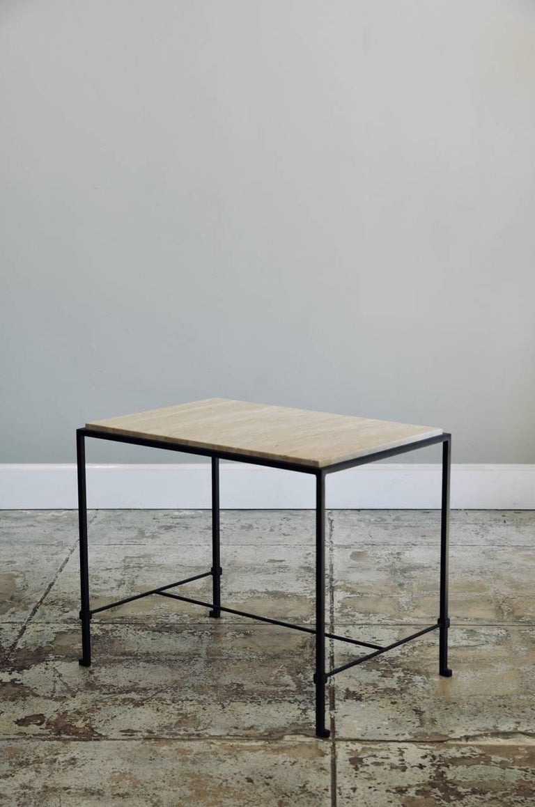 Neoclassical Pair of 'Diagramme' Wrought Iron and Travertine Side Tables by Design Frères For Sale
