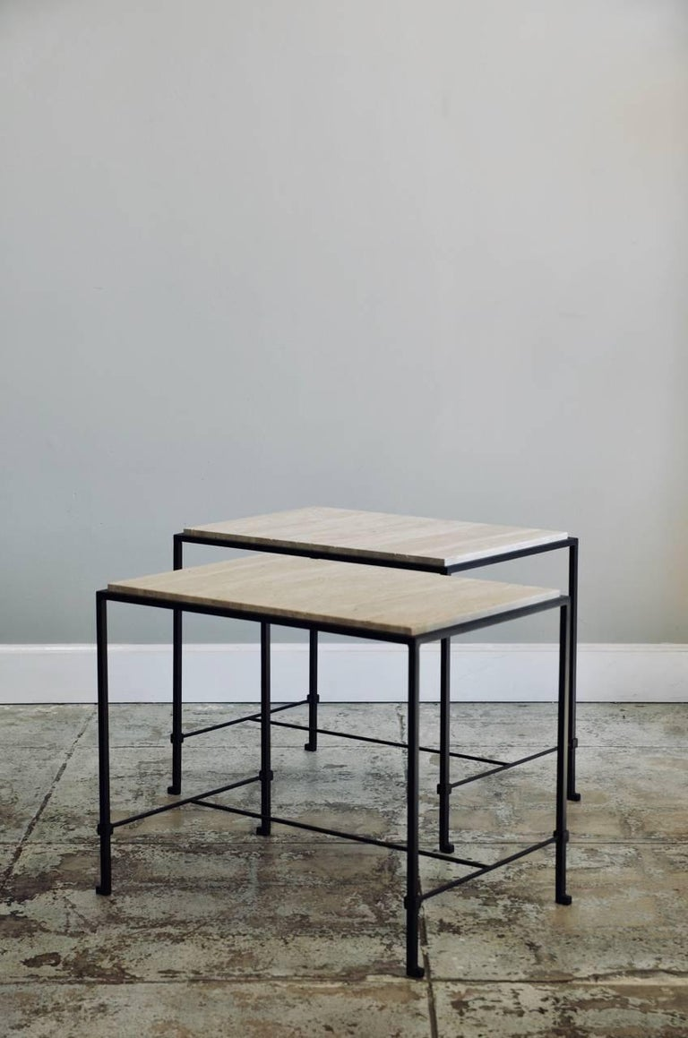 Polished Pair of 'Diagramme' Wrought Iron and Travertine Side Tables by Design Frères For Sale