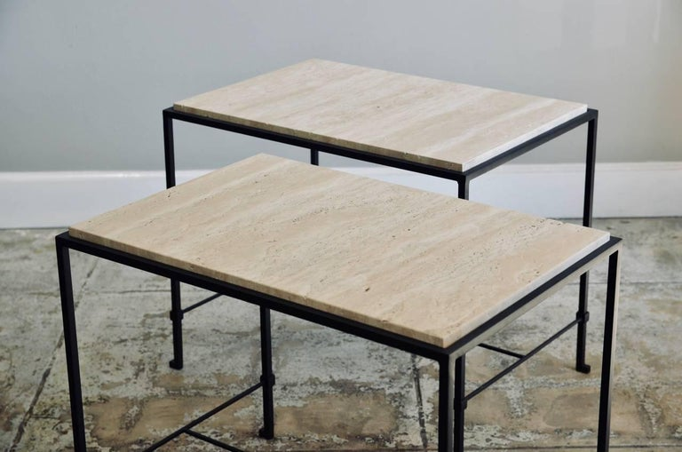 Pair of 'Diagramme' Wrought Iron and Travertine Side Tables by Design Frères In Excellent Condition For Sale In Los Angeles, CA