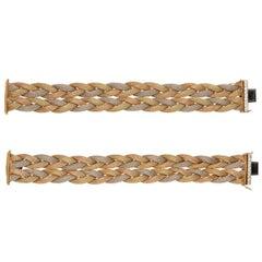 Pair of Diamond 14 Karat Tri-Color Gold Woven Bracelets or Choker