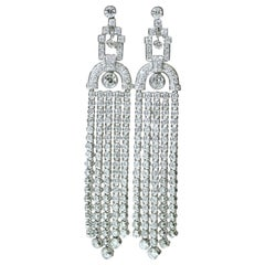 Pair of Diamond 18 Karat White Gold Tassel Earrings