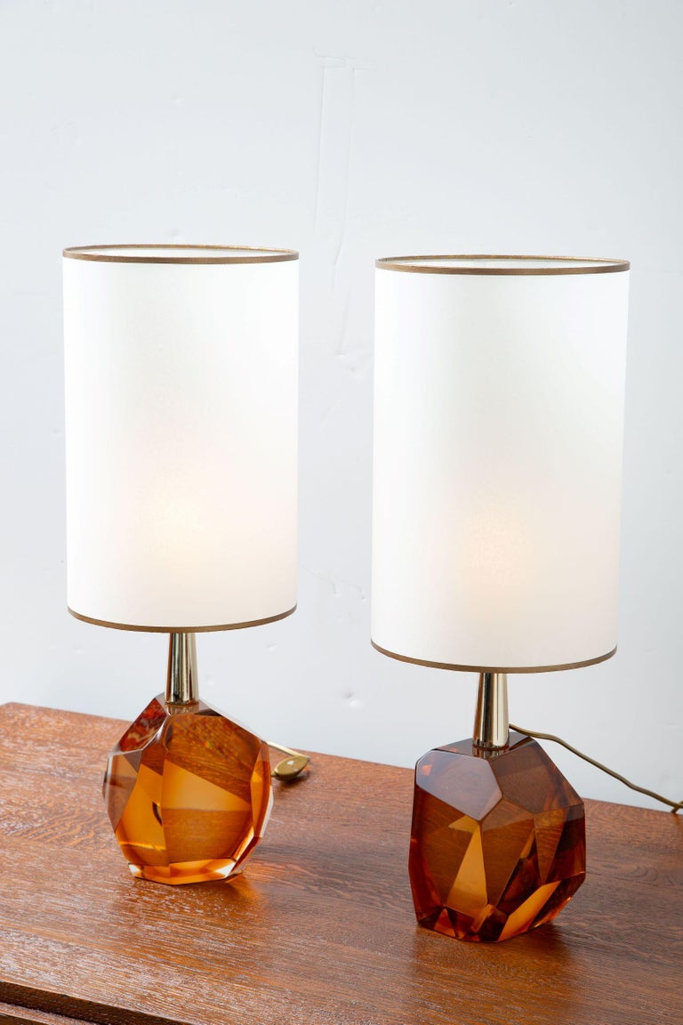 Pair of Diamond Amber Glass Table Lamps, in Stock For Sale 7