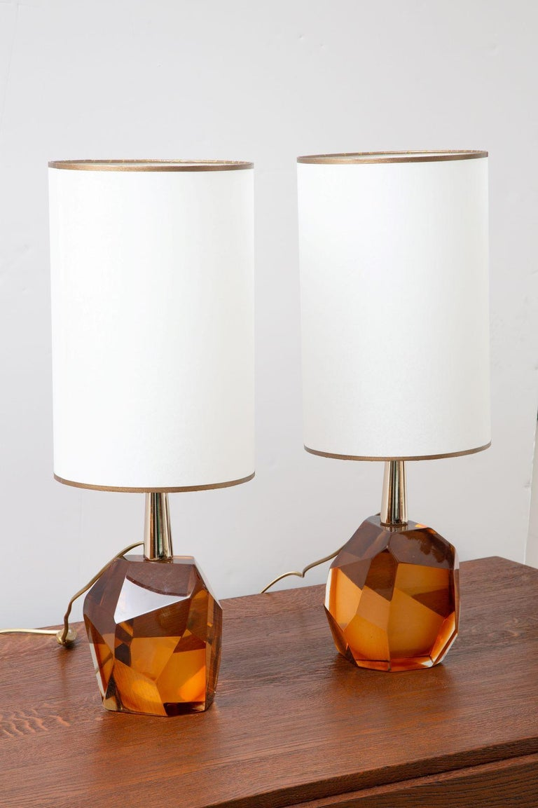Pair of faceted diamond table lamps, in stock