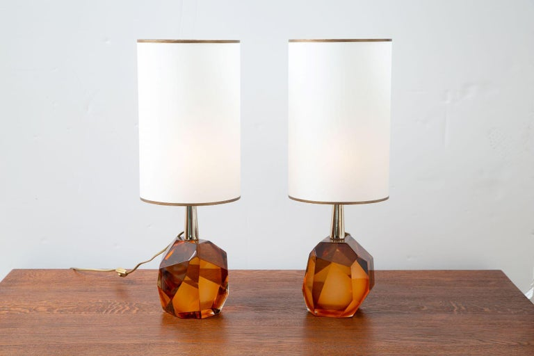 Mid-Century Modern Pair of Diamond Amber Glass Table Lamps, in Stock For Sale