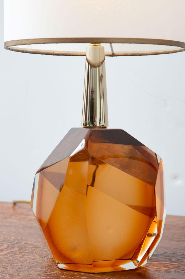 Contemporary Pair of Diamond Amber Glass Table Lamps, in Stock For Sale