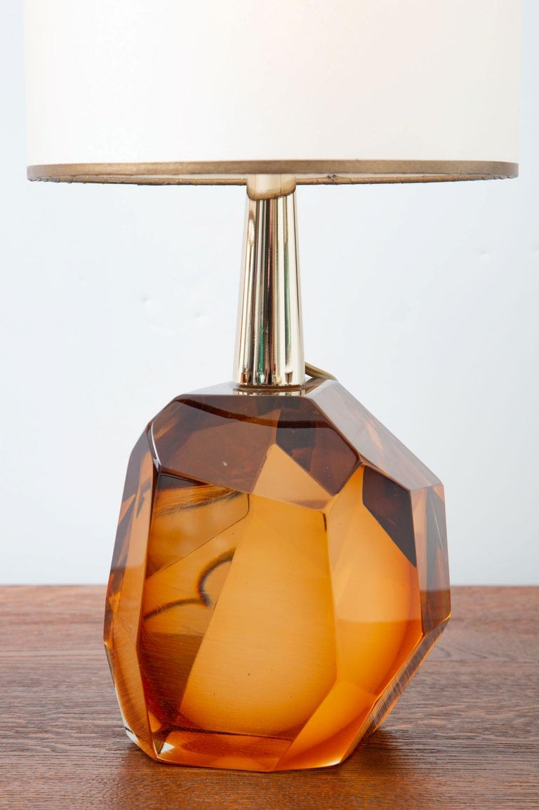 Murano Glass Pair of Diamond Amber Glass Table Lamps, in Stock For Sale