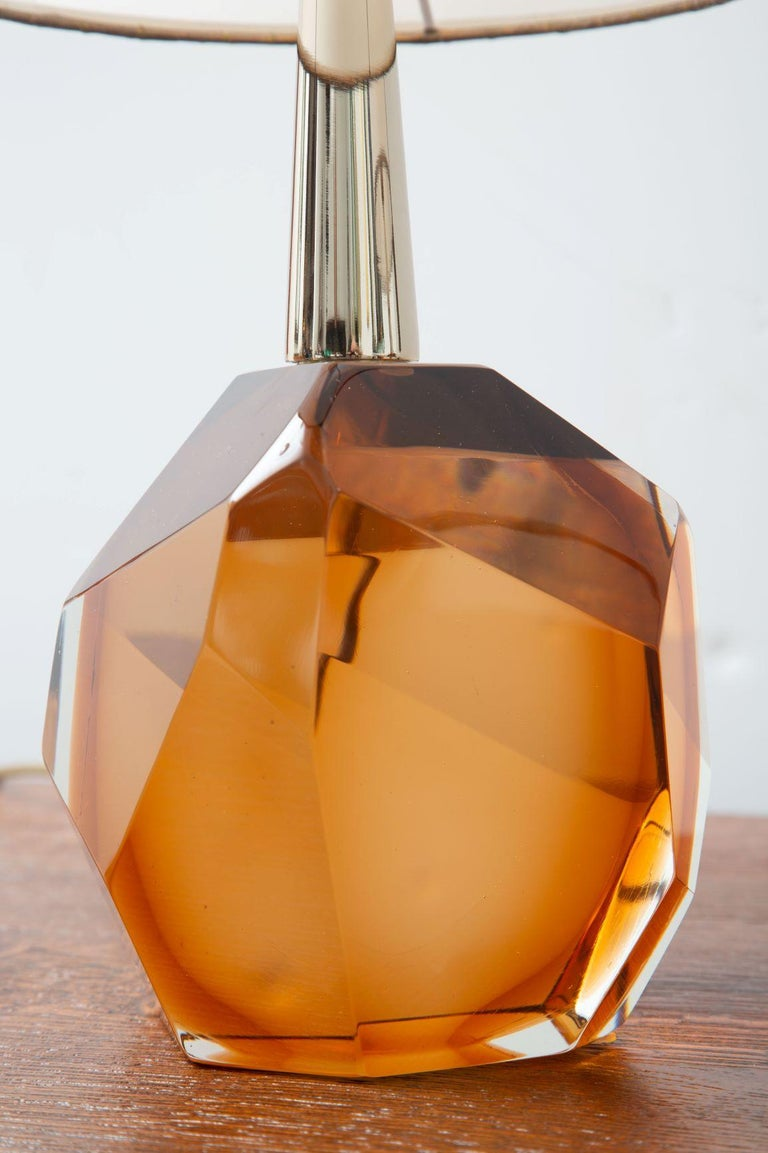 Pair of Diamond Amber Glass Table Lamps, in Stock For Sale 2
