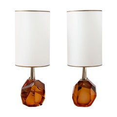 Pair of Diamond Amber Glass Table Lamps, in Stock