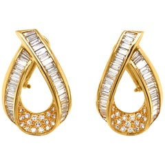 Pair of Diamond and 18 Karat Gold Loop-Shaped Earrings