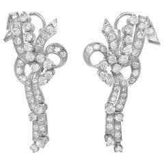 Pair of Diamond and 18 Karat White Gold Earrings