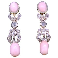 Pair of Diamond and Conch Pearl Drop Earrings