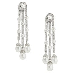 Pair of Diamond and Cultured Pearl Drop Earrings