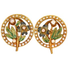 Pair of Diamond and Enamel Ear Clips by Masriera
