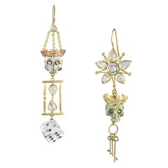 Pair of Diamond and Enamel Skull Earrings