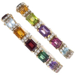 Pair of Diamond and Multi-Colored Gemstone Bracelets