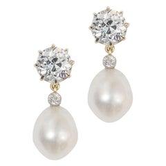 Pair of Diamond and Pearl Drop Earrings