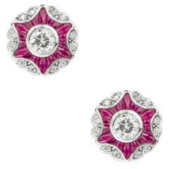 Pair of Diamond and Ruby Cluster Star Earrings