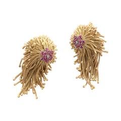Pair of Diamond and Ruby Tassel Earrings, Circa 1940