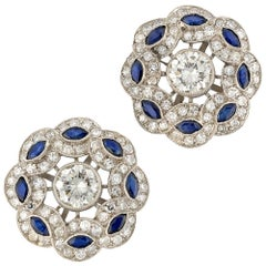 Pair of Diamond and Sapphire Cluster Earrings