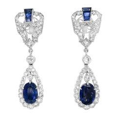 Pair of Diamond and Sapphire Earrings