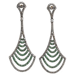 Pair of Diamond and Tsavorite Chandelier Earrings