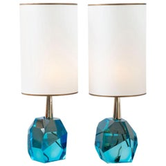 Pair of Diamond Aqua Marine Glass Table Lamps, in Stock