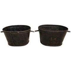 Pair of Diamond-Design French Steel Grape Bucket Planters