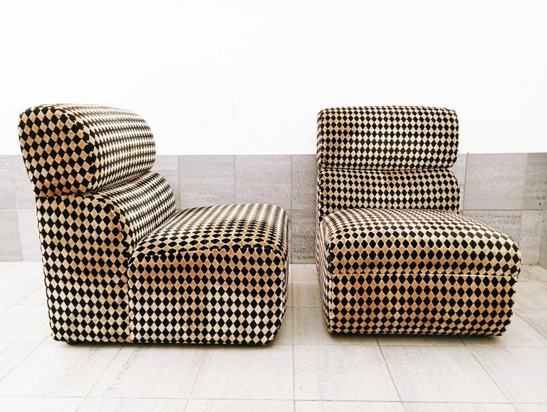Velvet Pair of Diamond Easy Chairs, France, 1970s For Sale