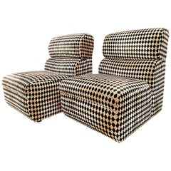 Pair of Diamond Easy Chairs, France, 1970s