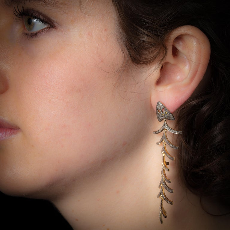 Pair of Diamond Fish Bone Dangle Earrings In Excellent Condition For Sale In Nantucket, MA