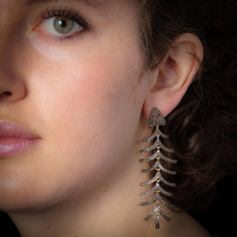 Women's or Men's Pair of Diamond Fish Bone Dangle Earrings For Sale