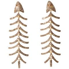 Pair of Diamond Fish Bone Dangle Earrings