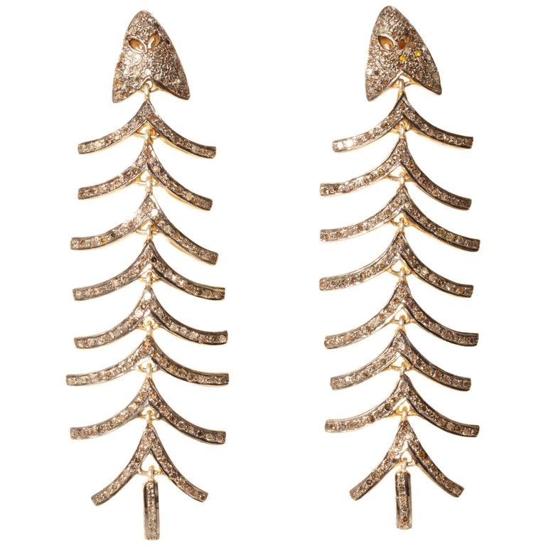 Pair of Diamond Fish Bone Dangle Earrings For Sale
