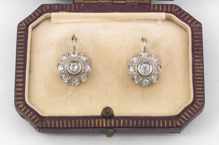 Belle Époque Antique Diamond Gold Cluster Earrings For Sale