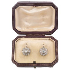 Antique Diamond Gold Cluster Earrings