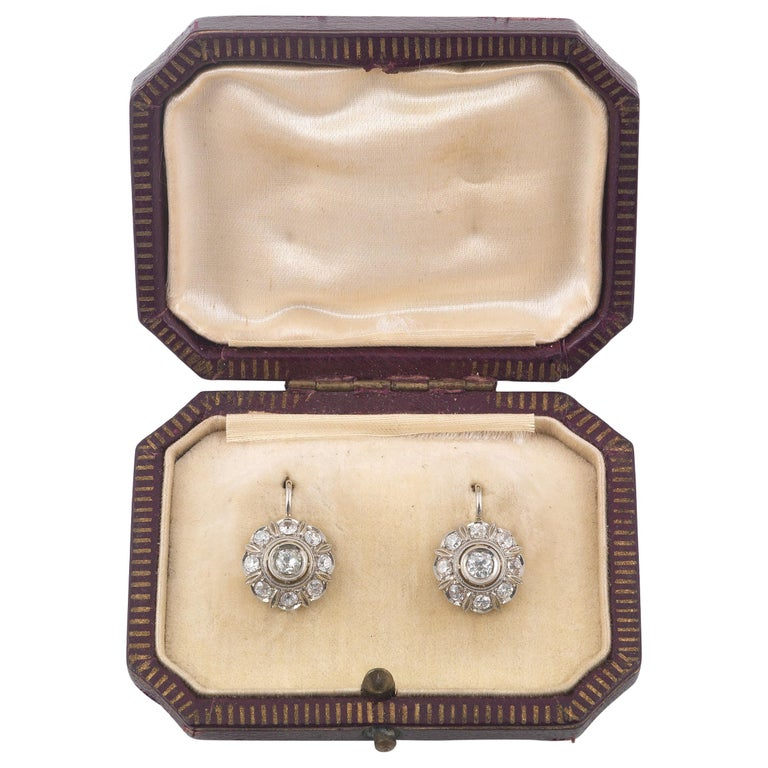 Antique Diamond Gold Cluster Earrings For Sale