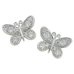 Pair of Diamond-Set Big Butterfly Earrings