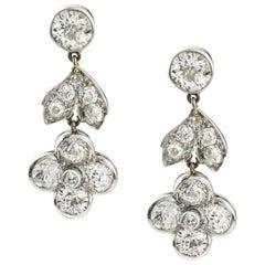 Pair of Diamond-Set Drop Earrings