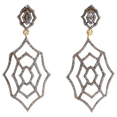 Pair of Diamond Spider Web Drop Earrings