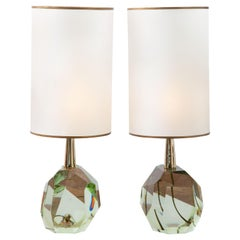Pair of Diamond Translucent Green Glass Table Lamps, in Stock