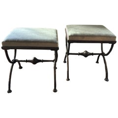 """""""X-Form"""" Ottoman or Stools, Mohair Upholstery, style of Giacometti"""