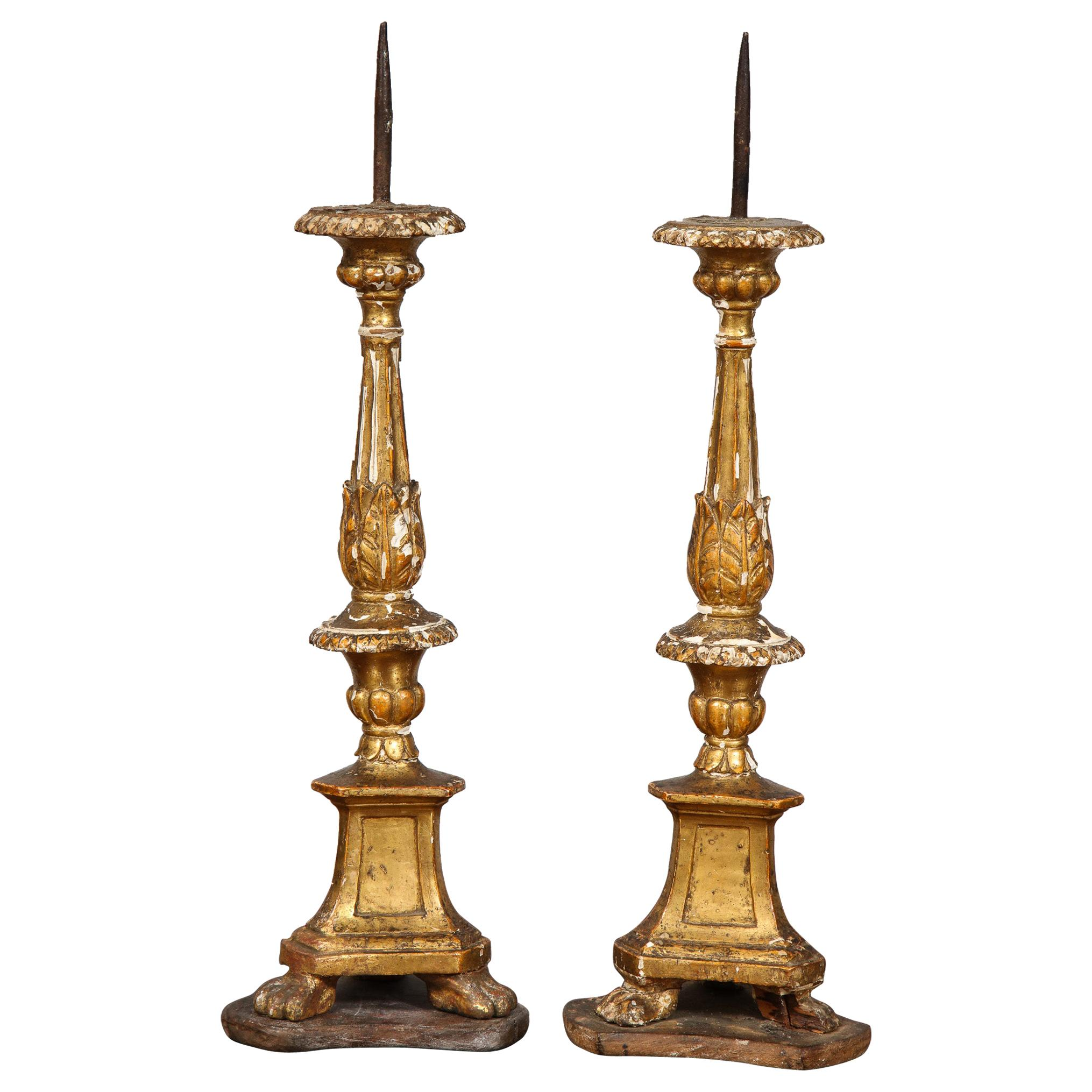Pair of Diminutive Giltwood Pricket Candlesticks