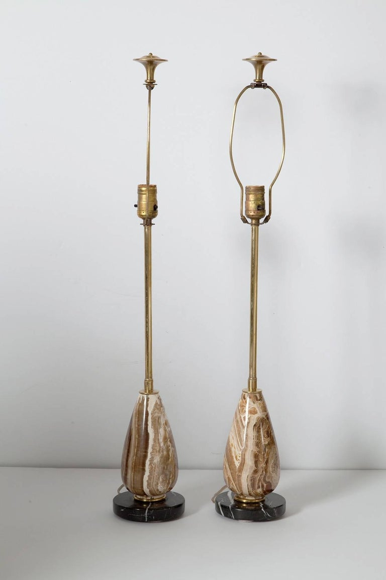 Pair of Diminutive Onyx Table Lamps, circa 1950 In Good Condition For Sale In North Miami, FL