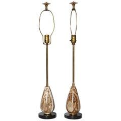Pair of Diminutive Onyx Table Lamps, circa 1950
