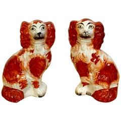Pair of Diminutive Red Staffordshire Spaniels, circa 1860