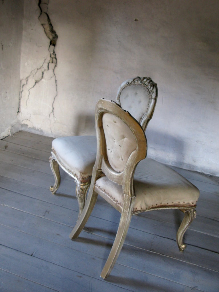 Pair of lovely decorative gild French chairs.  Right height for table with comfortable long seating! Very good to use as dining chairs or lovely side chairs  Chabby chic, splendid, decorative pieces Need for reupholstering  The seat is very